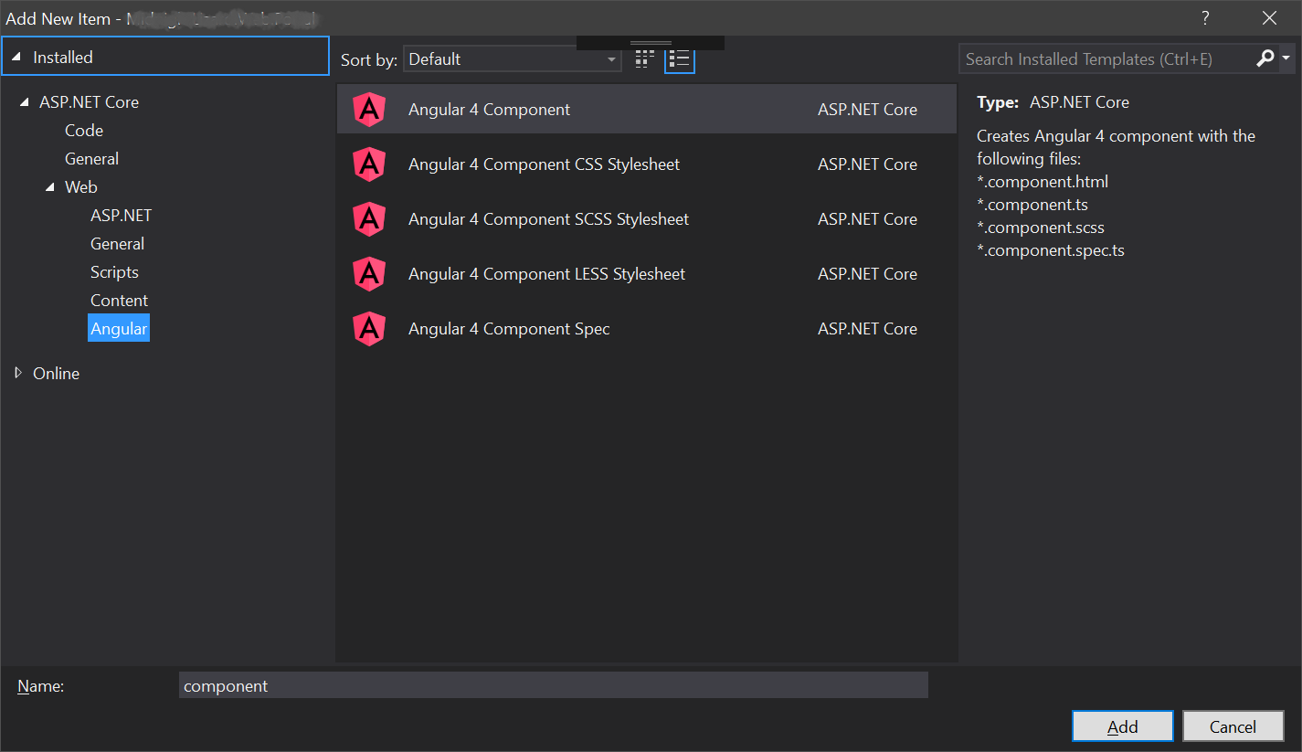 add new item dialog